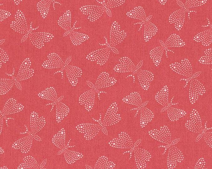 SALE !!!! Dear Stella Butterflies in Coral Cotton Woven- Price is per yard !