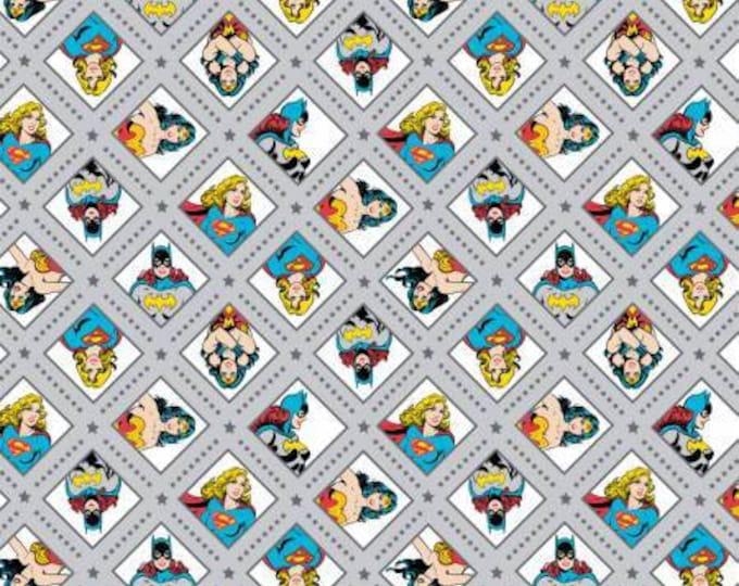 Camelot Fabrics - DC Comics -  Super Women on Iron Gray, Wonder Woman, Super Girl, and Bat Girl Cotton Woven fabric