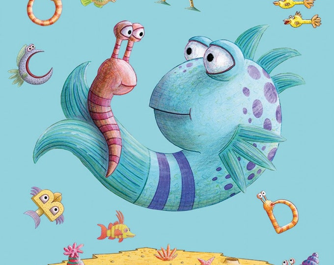 "Riley Blake - Licensed Pout Pout Fish - Panel 24"" x 42"" Multi # P8255R-MULTI Cotton Woven Fabric"