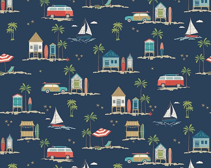 Riley Blake - Offshore 2 - Main Print c7980-navy Cotton Woven Fabric