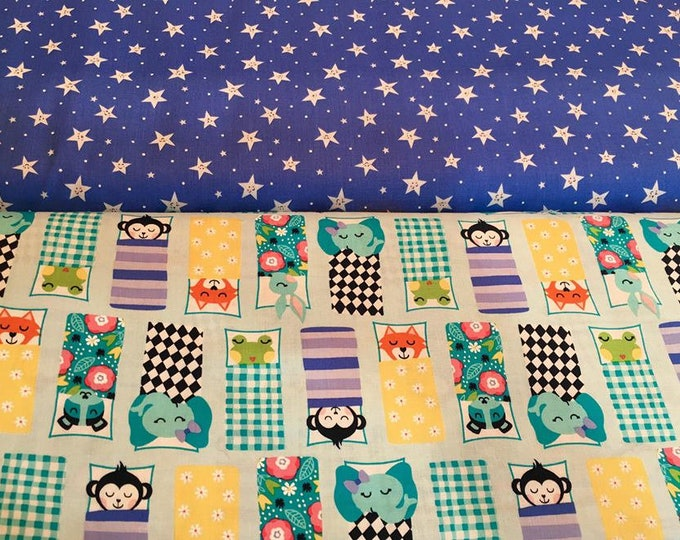 Road Trip Happy Campers Stars on Blue cotton woven fabric