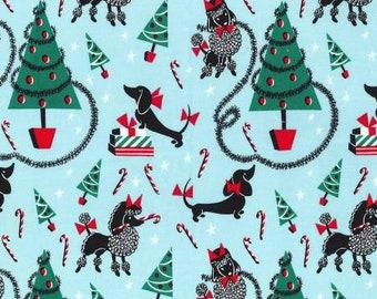Michael Miller - Aqua Canine Christmas Cotton Woven Fabric