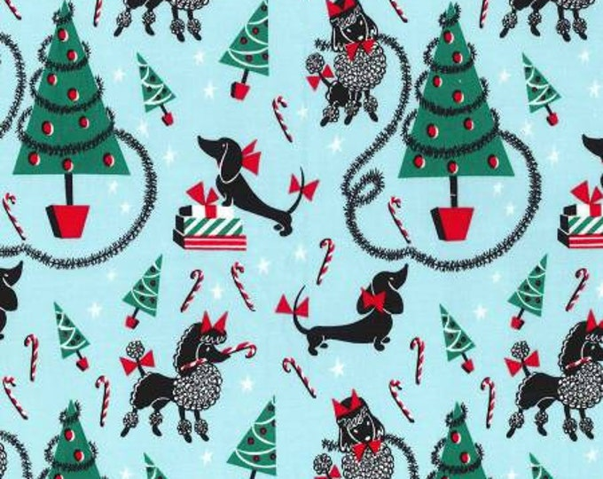 Michael Miller - Aqua Canine Christmas Cotton Woven Fabric