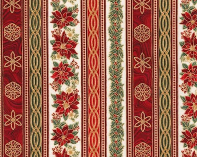 Holiday Poinsettia Stripe w/Metallic - APTM-17339-223 -Holiday Flourish by Robert Kaufman Metallic Cotton Woven Fabric