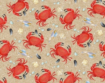 Blank Quilting  - Wade & Sea by Emma Leach - Crabs  9529-41 Cotton Woven Fabric