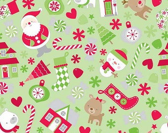 Riley Blake = Home for the Holidays Christmas Green Knit 95/5 Cotton/Spandex Knit Fabric