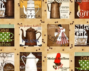 """Quilting Treasures - The Daily Grind - Coffee Pot 24"""" Panel (Blocks are about 8 x 8 inches each) Cotton Woven Fabric"""