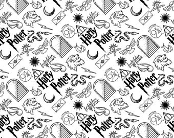 Camelot Fabric - Licensed JK Rowlings Harry Potter - White Artifacts on Flannel # 23800132B-1 100% Cotton Flannel