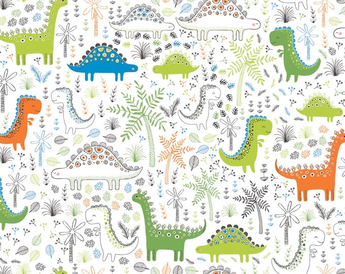 Camelot Fabrics - Roarsome - White Dinosaurs in Forest Cotton Woven Fabric # 21180401-1