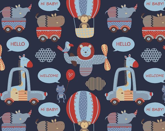 Stof Fabrics - Avalana Knits - Multi Animals & Cars on Dark Blue Ground - 19-659 - Cotton/Spandex Knit