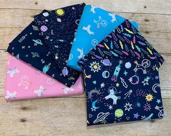 Dear Stella - Space Magic - Midnight Space Magic Fat Quarter Bundle of 6 Prints Cotton Woven Fabric