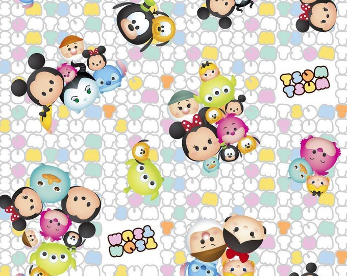 Tsum Tsum Group Toss on White Cotton Woven by Springs Creative