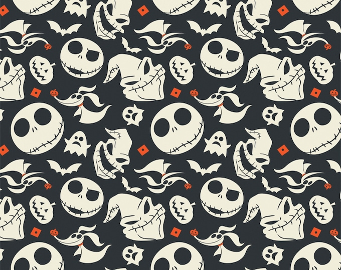 Nightmare Before Christmas - Jack is Back - Faces - Slate - Cotton Woven Fabric - Camelot
