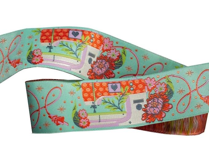 Tula Pink HomeMade Renaissance Ribbon - Priced per yard - 1.5 inch Pedal to the Metal, Morning - TK 54/38mm Col 1 Woven Ribbon