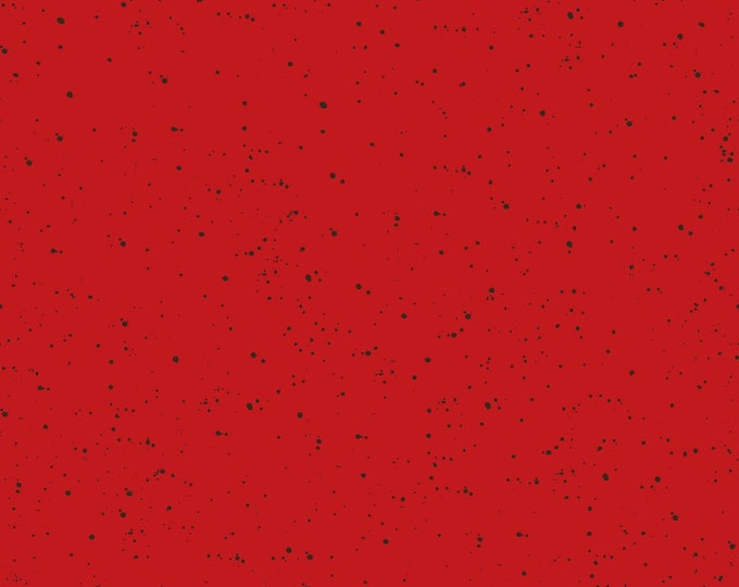Maywood Studio -Warm Wishes by Hannah Dale of Wrendale Designs - Speckled Solid Red #D6205M-RJ - Digitally Printed Cotton Woven Fabric