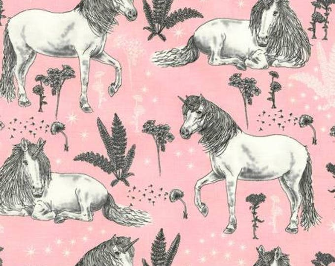 Sketched Unicorns on Pink Cotton Woven by Timeless Treasures