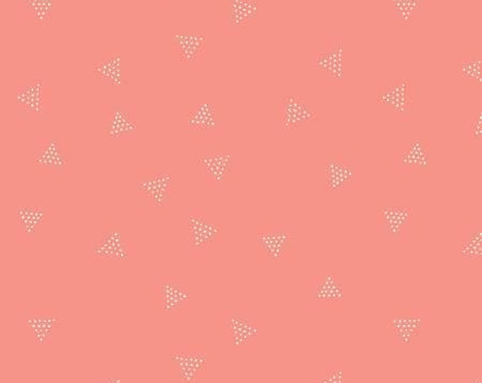 Sunset Dotted Triangles Coral  Cotton/Lycra Knit by Dear Stella