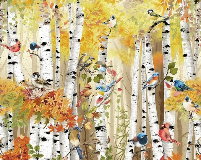 Timeless Treasures - Multi Birch Song Panel 24in # CD7408-MLT - Cotton Woven Fabric