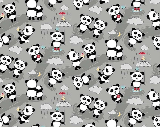 Riley Blake Fabric - Panda Love - Panda Bears on Light Gray cotton woven fabric