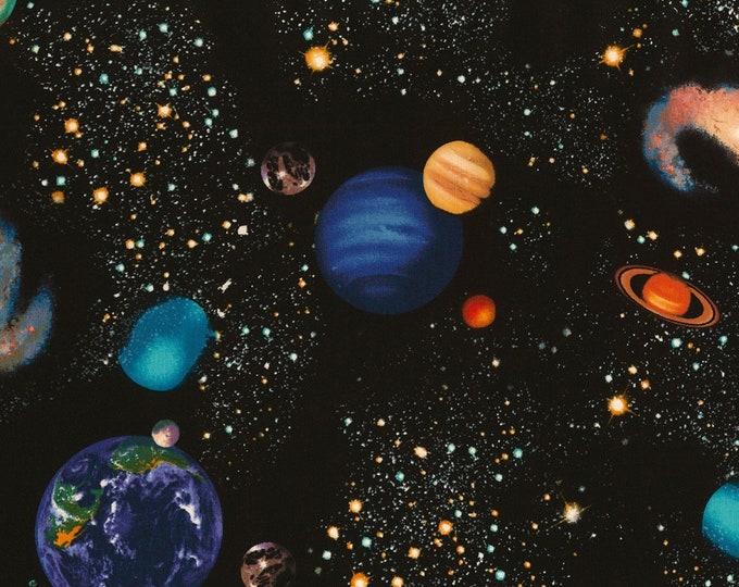 Timeless Treasures - Black Planets - Cotton Spandex Knit