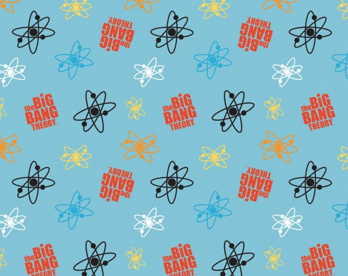 Big Bang Theory - Atoms on Blue - Cotton Woven Fabric - Camelot