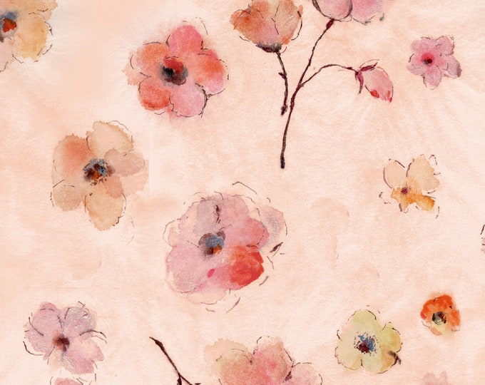 Timeless Treasures - Pink Floral Digitally Printed #CD7193-PNK Cotton Woven Fabric