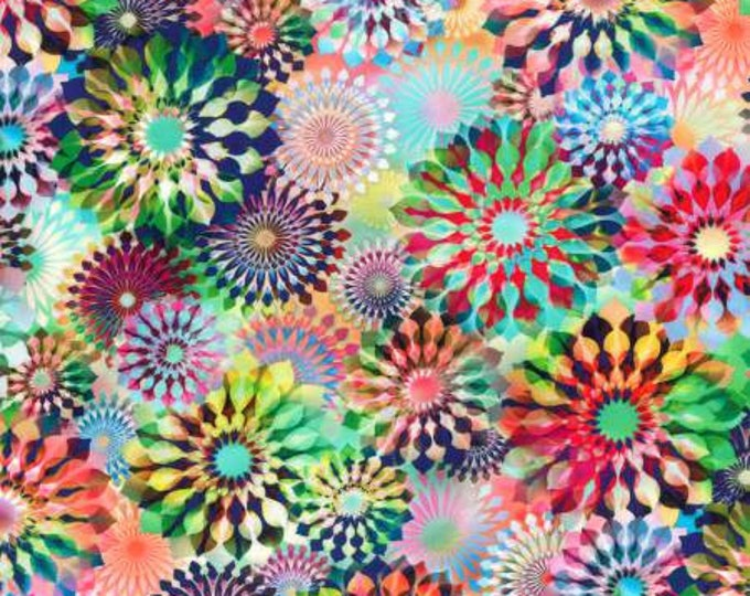 Opal Mosaic Digitally Printed cotton fabric fluttering by Hoffman Fabrics