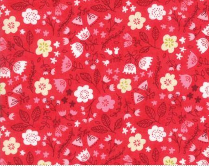 Moda Fabric - Just Another Walk in the Woods - Toss the Garden Red Cotton Woven Fabric
