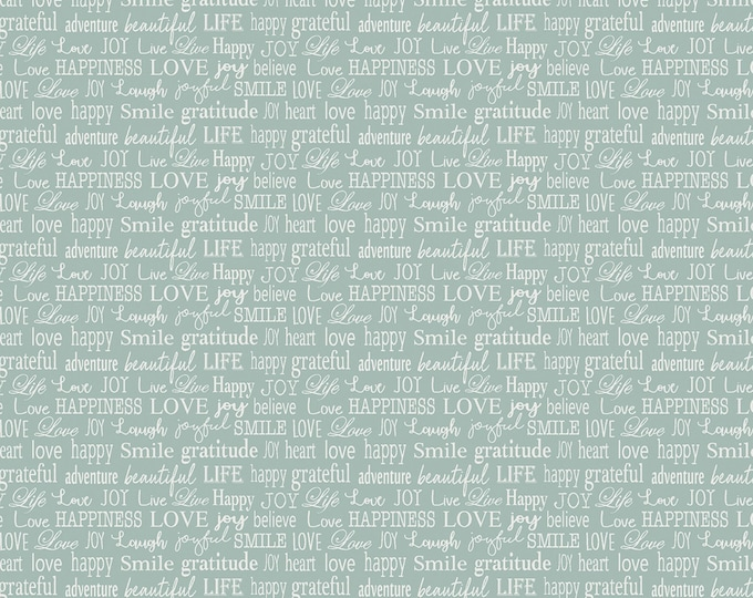 Words to Live By - Turquoise Tiny Words - Cotton Woven Fabric - Benartex