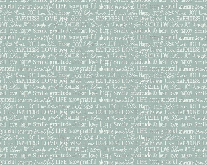 Benartex Fabrics - Words to Live By - Turquoise Tiny Words - Cotton Woven Fabric