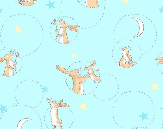 Clothworks Fabrics - Guess How Much I Love You - Bunny Toss Light Aqua Y-2518-32 Cotton Woven Fabric