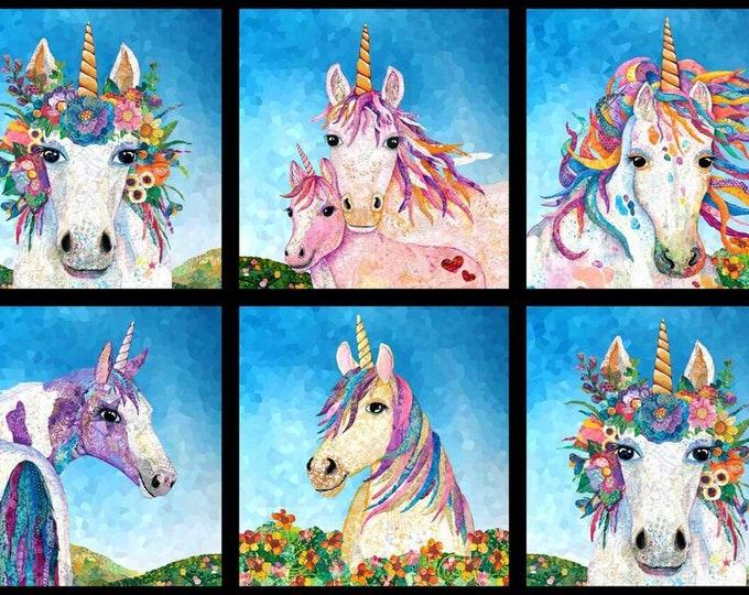 "Blank Quilting - Unicorn-O-Copia by Lisa Morales - 18"" Panel Unicorn Blocks 9888-75 - Digitally Printed Cotton Woven Panel"