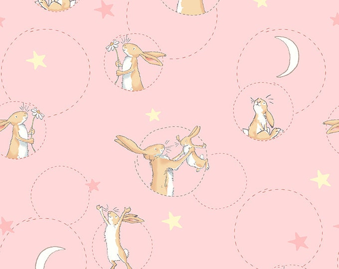 Clothworks Fabrics - Guess How Much I Love You - Bunny Toss Pink Y-2518-42 Cotton Woven Fabric