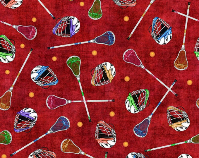Quilting Treasures  - Stick with It by Dan Morris- Lacrosse Gear on Dark Red  26705R Cotton Woven Fabric