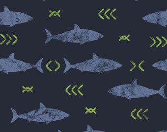 Stof Fabrics - Avalana Knits -Blue Sharks and Green Arrows on Night Blue Ground -  19-661 - Cotton/Spandex Knit
