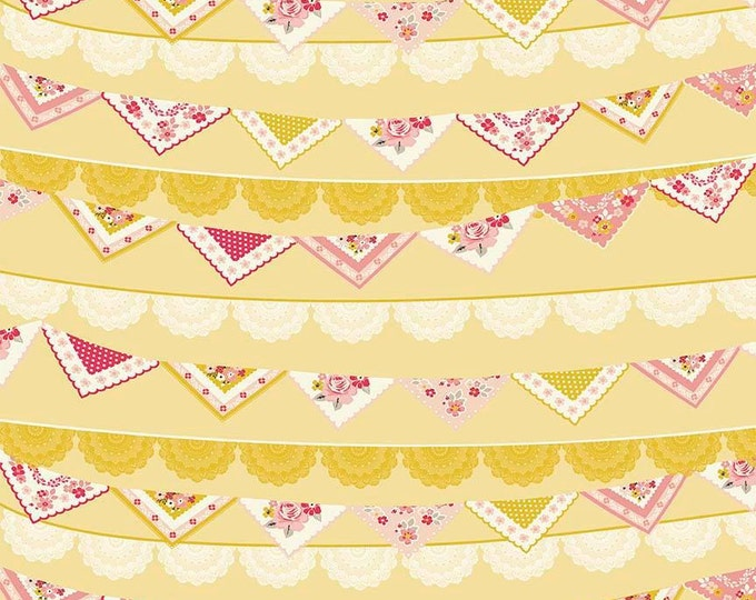 Riley Blake Fabric - Vintage Day Dream -   Bunting Banner Mustard Gold Cotton Woven Fabric