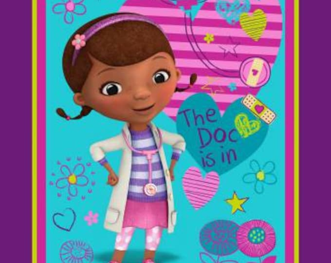 SALE !! Disney, Doc McStuffins, The Doc is in Panel Cotton Woven by Springs Creative