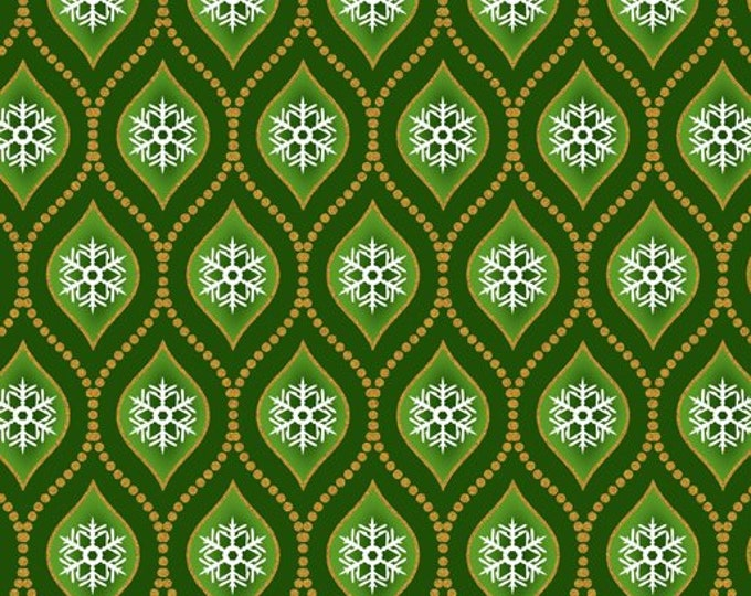 Jason Yenter Celestial Winter - Snowflakes - Green - Metallic Cotton Woven Fabric 7ACW-2M