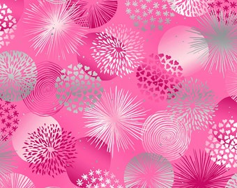RJR Fabrics - Shiny Objects Sweet Somethings - Bonbon - Raspberry - Silver Metallic #3530-003 Cotton Woven Fabric