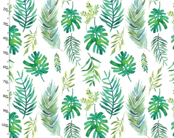 3 Wishes Fabric - Tropicale - Digitally Printed - Palm Fronds  13776 Cotton Woven Fabric