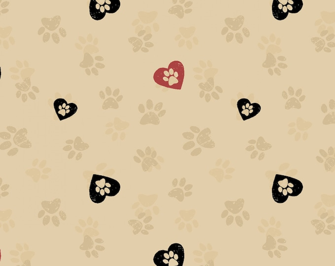 Clothworks - Wigglebutts by Dan DiPaolo - Khaki Paws in Hearts # Y2842-12 - Cotton Woven Fabric