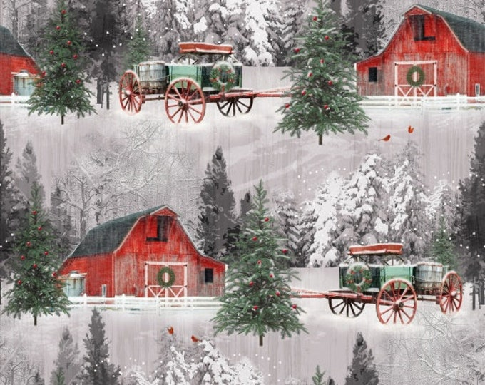 Henry Glass Fabric - Holiday Wishes - Barn Scene     6929-86 Cotton Woven Fabric