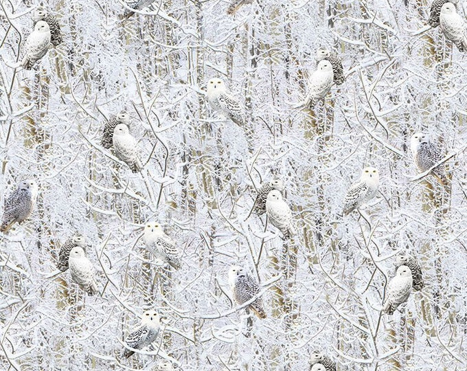 White Winter Owls cotton fabric by Timeless Treasures