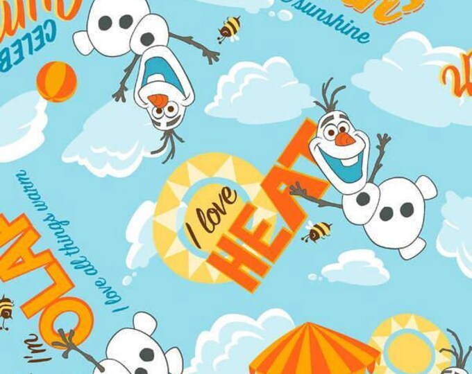CLEARANCE -      Olaf I love the Heat on Blue Clouds Cotton Woven  - Price per yard