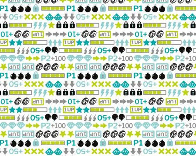 Camelot Fabrics - Game on White Icons Cotton Woven Fabric