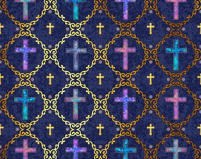 Quilting Treasures - Faith by Dan Morris - Dark Navy Crosses 26873N  Cotton Woven Fabric