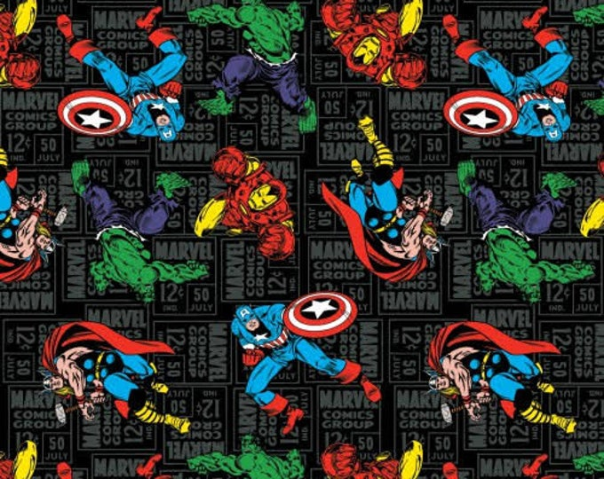 Springs Creative - Marvel comic group on black Cotton Woven Fabric