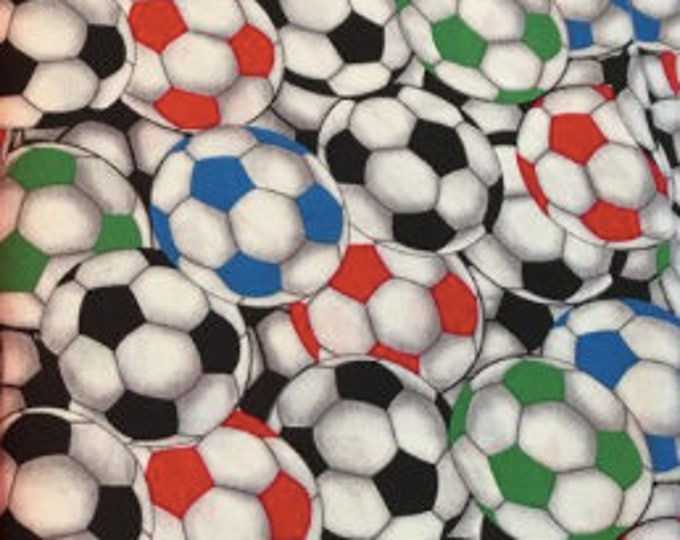 Soccer Balls on white Cotton Woven, by David Textiles