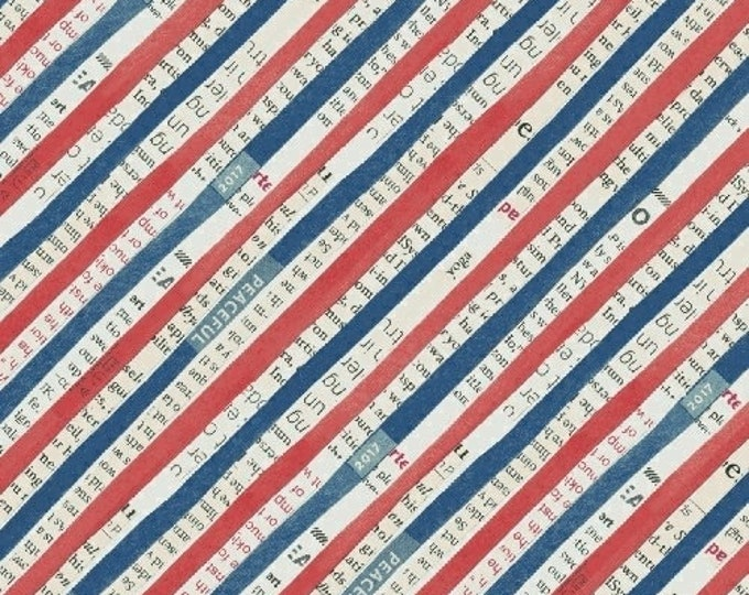 Carrie Bloomston - Wonder - Red White blue Stripe - Cotton Woven Fabric - Windham 50519-2