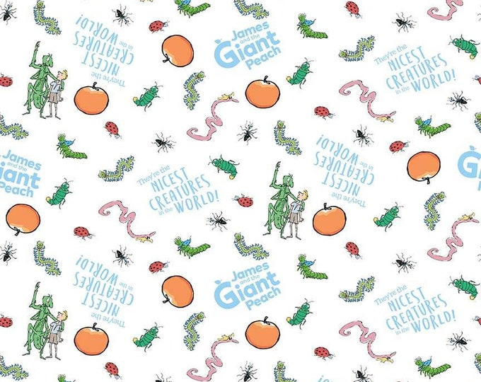 James & the Giant Peach - Creatures - White - Cotton Woven Fabric - Riley Blake Designs